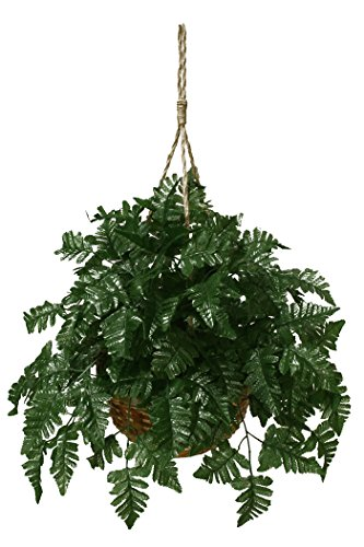Artificial Leather Fern Extra Full Hanging Basket Silk Pl...