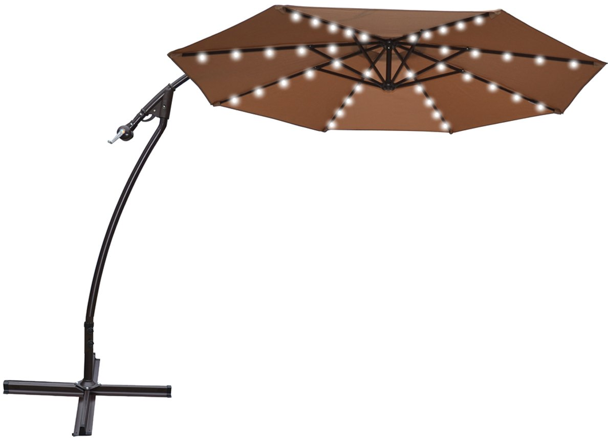 Amazon.com : STRONG CAMEL 9u0027 CANTILEVER SOLAR 40 LED LIGHT PATIO UMBRELLA  OUTDOOR GARDEN ALUMINIUM MARKET TAUPE : Garden U0026 Outdoor