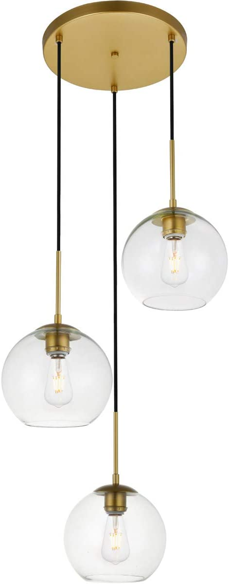 3-Lights Brass Pendant in Clear Finish