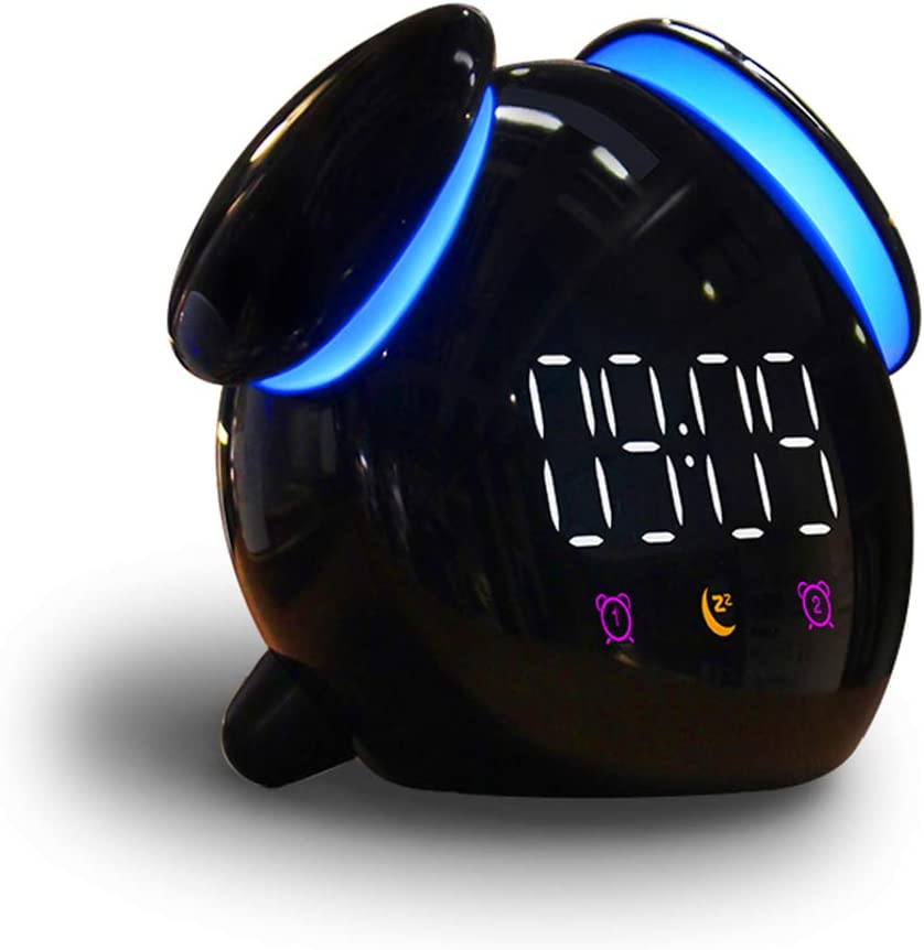 GuDoQi Kids Alarm Clock USB Rechargeable Wake Up Digital Alarm Clock with Snooze Bedside Clock with Color-Changing Light Non Ticking Dual Alarms Clock with 10 Minutes Sleep Timer