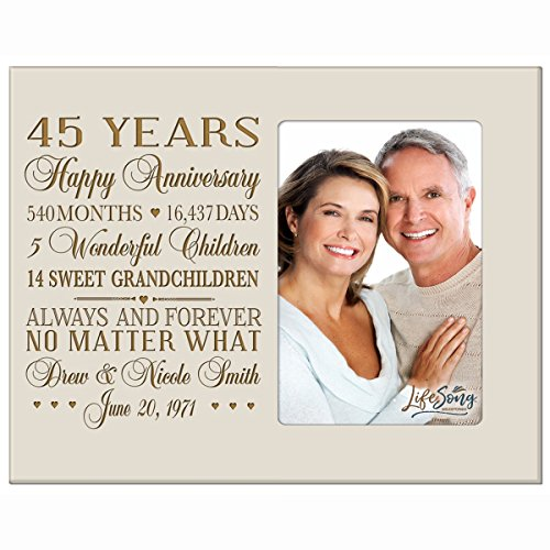 Personalized forty-fifth year anniversary gift for her him couple Custom Engraved wedding gift for husband wife girlfriend boyfriend photo frame holds 4x6 photo by LifeSong Milestones (Ivory) - Anniversary Year Photo Holder