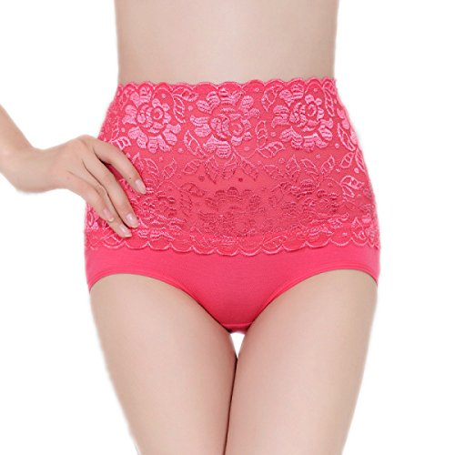 POKWAI Women 's Vientre Pantalones De Encaje Transparente De La Tentación De Cintura Alta De Sección Ligera Escritos Inconsútiles A5