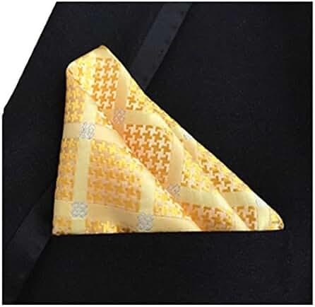 MENDENG Men's Brown White Plaid Stripe Pocket Square Formal Hanky Handkerchief