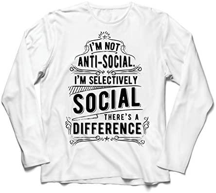 lepni.me Camiseta de Manga Larga para Hombre No Soy Antisocial Solo selectivamente Social, Gracioso Diciendo, Citas de Humor sarcástico: Amazon.es: Ropa y accesorios