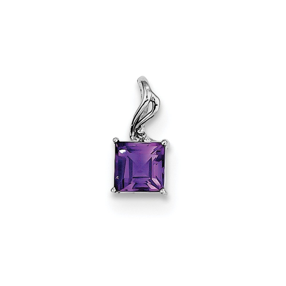Sterling Silver Rhodium Plated Diamond /& Amethyst Square Pendant