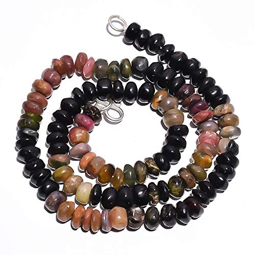 - Kanta Incorporation Natural Multi Tourmaline Gemstone Rondelle Smooth Beads Necklace 17
