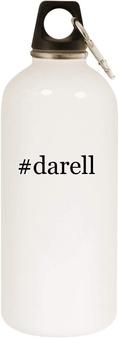 #darell - 20oz Hashtag Stainless Steel White Water Bottle with Carabiner, White