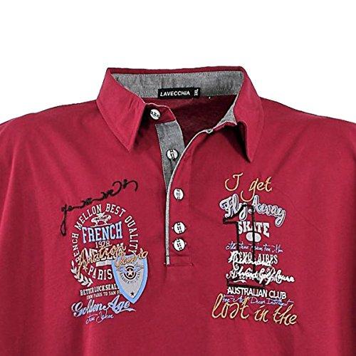 Modernes Herren Poloshirt kurzarm in Übergröße von Lavecchia aus reiner Baumwolle in bordeaux von 3XL bis 8XL