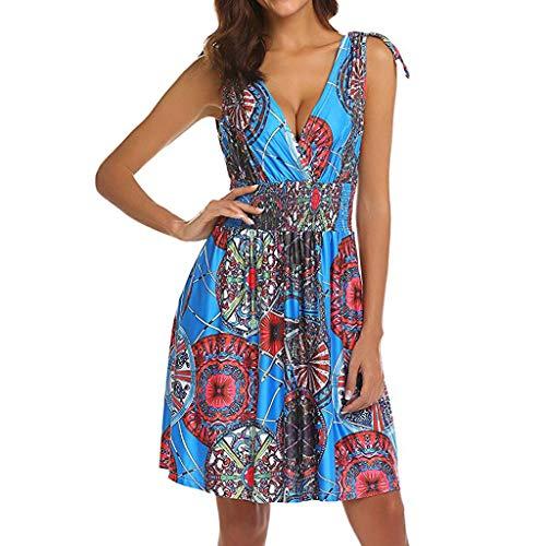 Women's Boho Sleeveless V Neck Floral Dress,Sunnoot Casual Sunflower Printing High Waist Skater Smock Mini Dresses Sky Blue