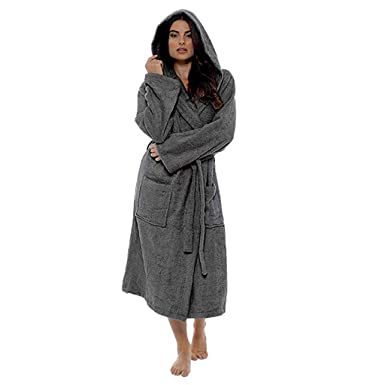 Women s Winter Hooded Plush Lengthened Dark Gray Bathrobe 48b59b6db