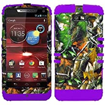 CellPhone Trendz Hybrid 2 in 1 Case Hard Cover Faceplate Skin Purple Silicone and Camo Mossy Hunter Green Leaves Snap Protector for Motorola DROID RAZR M (XT907, 4G LTE, Verizon)