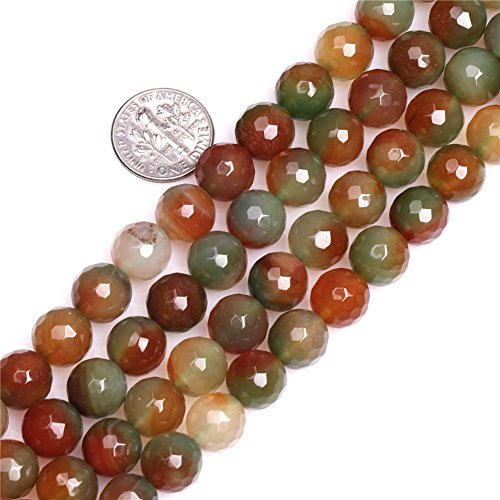 - 10mm Natural Semi Precious Round Faceted Multicolored Agate Gemstone Beads for Jewelry Making Strand 15