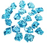 Landisun Translucent Fake Artificial Acrylic Ice Crystal Rocks for Vase Fillers Table Scatters (Turquoise, 120 PCS)