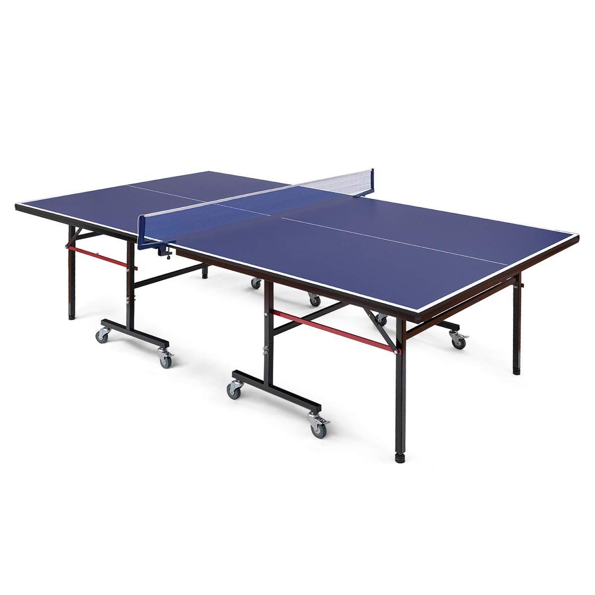 Goplus 折りたたみ式卓球テーブル コンパクトピンポンテーブル 屋外屋内用 クランプ式ネットロックホイール プレイモード 10分組立 B07GVB456D