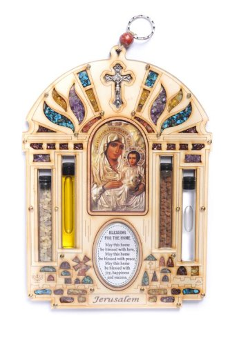 Large Jerusalem Stone (Large Wood Plaque Jerusalem White Maria Crusifix Home Blessing With Semi Precious Stones Wall Hanging Gift)
