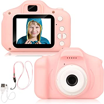 Digital Camera 2.0 inch for Children with 32GB TF Card 1080P Video Recorder/& Lanyard Anti-Drop Design Mini SLR Supports Small Game Gifts Toy for 3 to 12 Years Old Muonve Kids Cameras