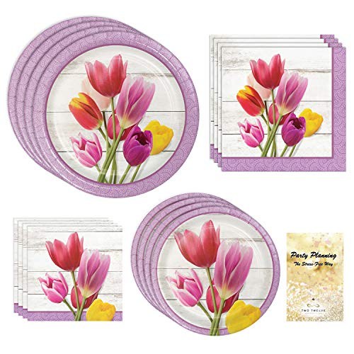(TwoTwelve Floral Party Supplies, Beautiful Blooms Design, Bundle of 4 Items: Dinner Plates, Dessert Plates, Lunch Napkins and Beverage Napkins, Great for Bridal Showers, Mother's Day, Birthdays)