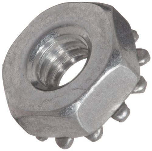 18-8 Stainless Steel Hex Nut, Plain Finish, Self-Locking Toothed Washer, Right Hand Threads, #6-32 Threads (Pack of 100) by Small Parts