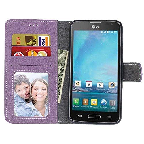 YHUISEN LG L90 Estuche, estilo retro de color sólido Premium PU cuero Wallet caso Flip Folio cubierta de la caja protectora con ranura para tarjeta / soporte para LG L90 D410 ( Color : Beige ) Purple
