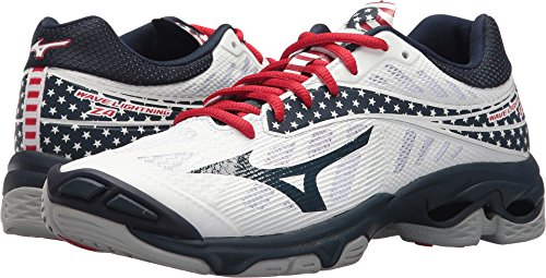 Mizuno Wave Lightning Z4 Volleyball Shoes, White/Navy/red, Women's 9 B US