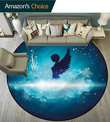 RUGSMAT Blue Modern Flannel Microfiber Non-Slip Machine Round Area Rug,Angel Woman Silhouette Wings Lifts Basket Swivel Chair Pad Coffee Table Rug Round-47