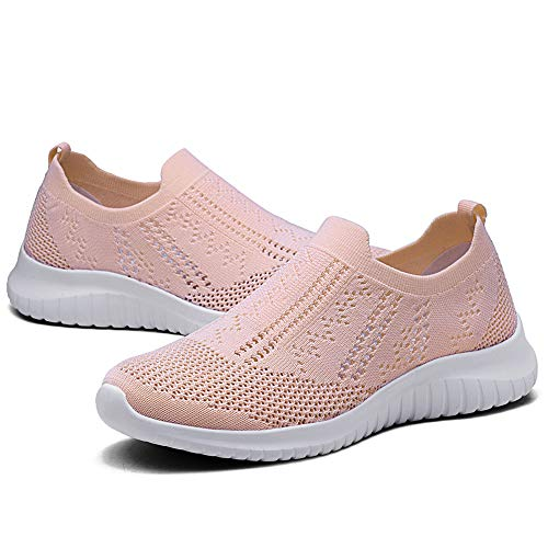 Mesh Lightweight Shoes On Trainers 2148 Casual Walking TIOSEBON Slip Pink Womens 1wUqxPF
