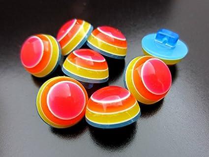 Knopfparadies -10er fr/öhliche bunte Kinder Kunststoff Kn/öpfe in Halbkugel Form // himmelblau rot wei/ß // Kinderkn/öpfe // /Ø ca 13mm gelb orange