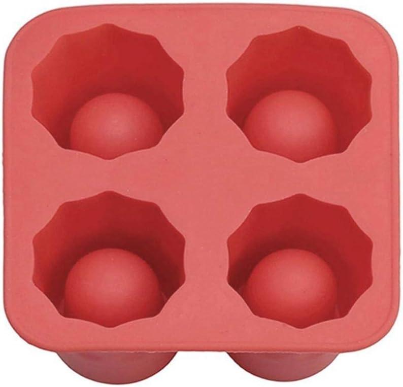 LJLLINGA 4 Forma de Taza Silicona Cubitos de Hielo Molde Tiradores Vaso de Vidrio Molde de Hielo Bandeja de Cubitos de Hielo Bar de Verano Fiesta Cerveza Hielo Accesorios para Herramientas de Bebida