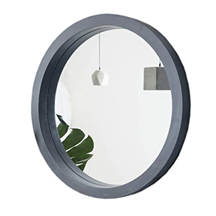 Amazon Com Wooden Frame Beveled Mirror Round Bathroom