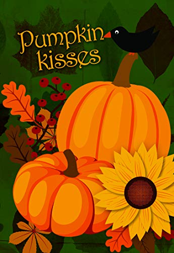 Lantern Hill Pumpkin Kisses Harvest Wishes Garden Flag; Two in One Double Sided Autumn Decor; Pumpkins, Sunflowers and Bird; 12.5 x 18 inches; Seasonal Decorative Banner ()