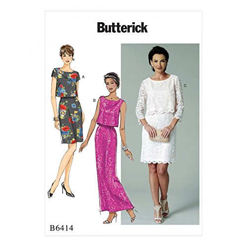 Butterick Ladies Easy Sewing Pattern 6414 Overlay Bodice Dresses