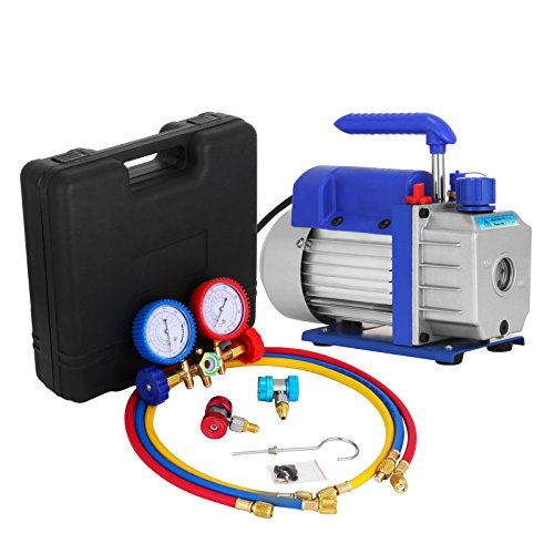 Mophorn Vacuum Pump Kit 3CFM 1/4HP Air Vacuum Pump HVAC A/C Air Conditioning Refrigerant Rotary Vane Single Stage Vacuum Pump with 3 Valve R22 R134 R410 AC Manifold Gauges Set (3CFM 1/4HP 3Value)