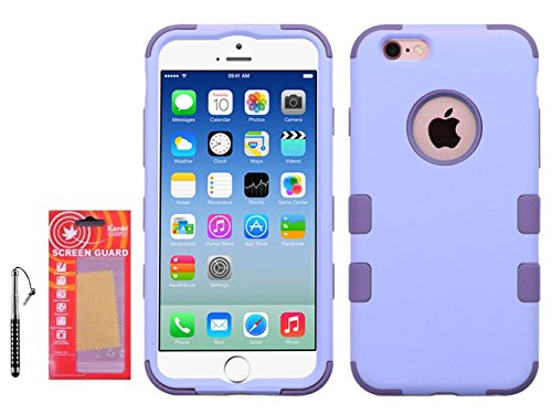 Lavender Faceplates (Iphone 6, 6s Cases, (Lavender) Hybrid High Impact Defender Case Combo Hard Soft Cases Covers Kaede [Screen Guard] Protector and Crystal Stylus)