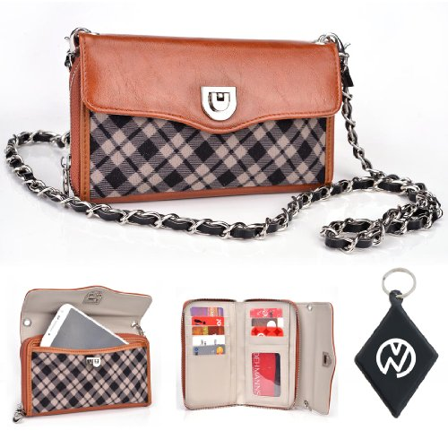 Brown Tartan with Fused Bicast Leather Wristlet wallet phone cover + chain Fits LG Optimus Vu II + NuVur Keychain (SUNISTN1)