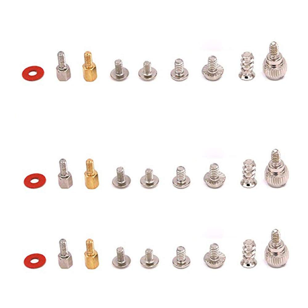 185-Pieces Computer Screws Kit PCB Motherboard Brass Standoff Hexagonal Spacer Insulating Pad PC Mounting Screw Nut Assortment Set
