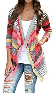 Relipop Women Multi-colored Stripes Splicing Sleeve Cardigan Jacket