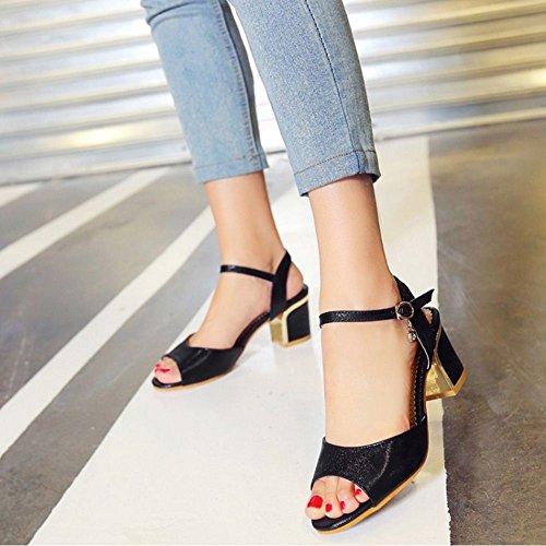 COOLCEPT Zapato Mujer Moda Hebilla Resplandecer Medio Chunky Heel Vestir Sandalias Negro