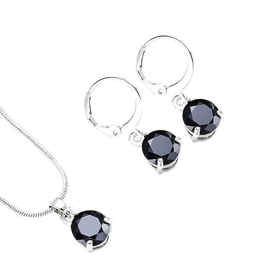 cf2071bbc Amazon.com: Women's Zircon Round Pendant Earring Necklace Ornament ...