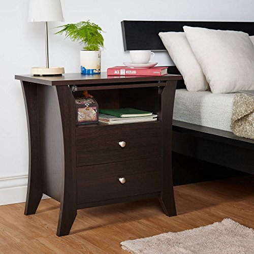 Cheap  Nightstand, Espresso, 2 Drawers on Metal Glides for Ample Storage Space, Slim..