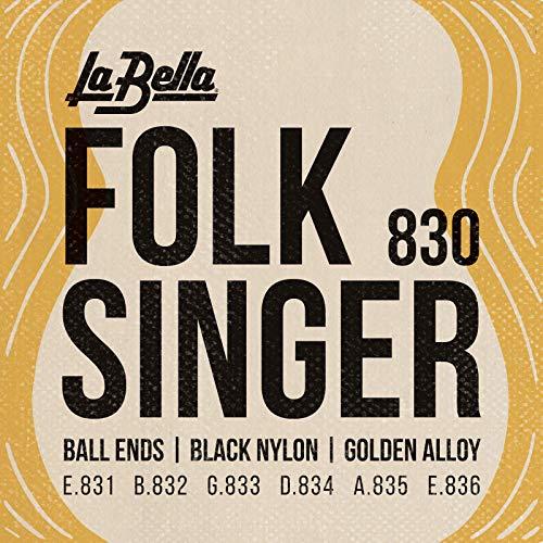 La Bella (830) String Type Folksinger Set, Black Nylon Guitar Strings - Medium Tension that Produce a Classic Sound