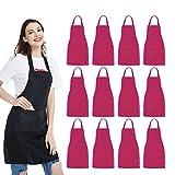 NOBONDO 12 Pack Bib Apron - Unisex Pink Apron Bulk with 2 Roomy Pockets Machine Washable for Kitchen Crafting BBQ Drawing