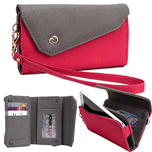 ured All-in-One Wallet Clutch Smartphone Wristlet Fits Motorola Moto E Dual SIM (2nd gen), XT928 Fuchsia/Grey ()
