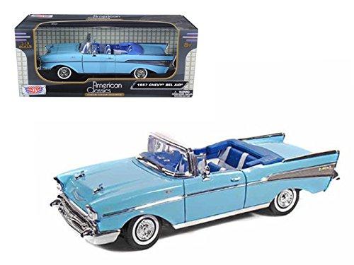 Motormax 73175 1957 Chevrolet Bel Air Convertible Blue 1/18 Diecast Model Car ()