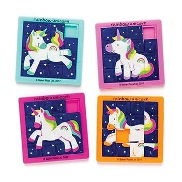 Baker Ross- Puzles deslizantes de Unicornios de Colores (Pack de 4) para Bolsas de cotillón Infantiles