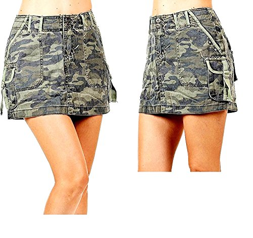 Green Cargo Skirt (LUCY collection ladies Sexy A-line Army camo Camouflage jean CARGO Mini-skirt (M))