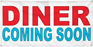 Vinyl Banner Multiple Sizes Diner Coming Soon Red Blue Food Bar Restaurant Truck Business Outdoor Weatherproof Industrial Yard Signs 6 Grommets 36x72Inches