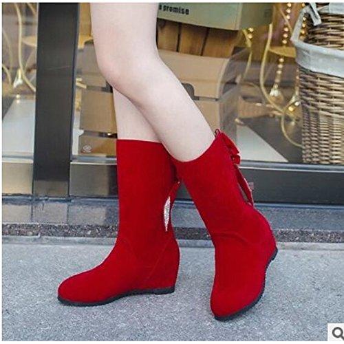 PU Toe Confort Plano Botas Otoño Rojo Yellow botines redondeado Invierno HSXZ Negro Zapatos Botines Mujer Amarillo informales de W6qn6XzY