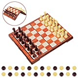 iBaseToy Magnetic Chess Set, 2 in 1 Chess and Draughts Set Chess Game Set Folding Chess Board for Adults and Kids – 36 x 31cm