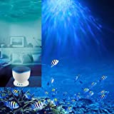 Angelwing Night Light Ocean Sea Waves LED Projector Romantic Lampshade Relaxing Lamp Speaker