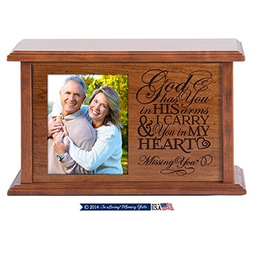 LifeSong Milestones Wooden Cherry Cremation Urn for Adult Ashes God Has You in His Arms I Carry You in My Heart Hand Finished for in Home or Niche At Columbarium